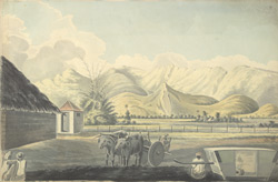 f.4   Hilly landscape with bullock-cart and palanquin in the foreground.